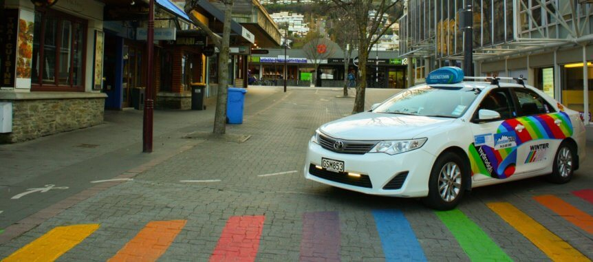 Queenstown Taxis rainbow Winter Pride Taxi